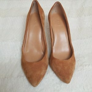 J. Crew suede Everly heels.